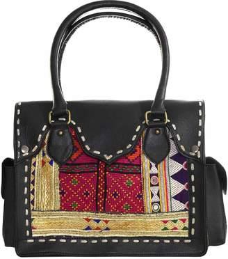 Vintage Addiction Black Leather & Vintage Beaded Fabric Shoulder Bag
