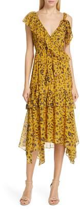 Ulla Johnson Dania Tiered Floral Print Midi Dress