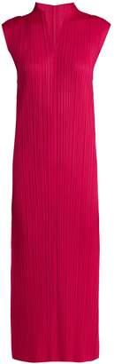 Pleats Please Issey Miyake Pleated V-neck dress