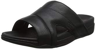 FitFlop Men's Freeway Pool Slide in Leather Open Toe Sandals, (Black), 41 EU