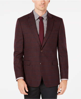 Tommy Hilfiger Men Modern-Fit Th Flex Stretch Burgundy/Blue Windowpane Sport Coat