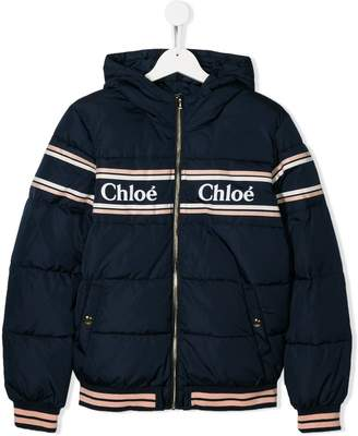 Chloé Kids TEEN logo quilted jacket