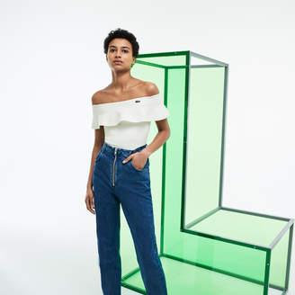 Lacoste Women's Fashion Show Cotton Blend Knit Flounced Bustier
