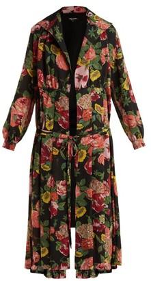 Junya Watanabe Wool Knit Floral Print Georgette Dress - Womens - Black Multi