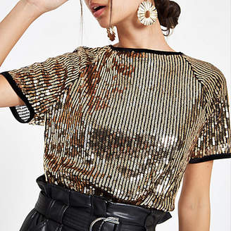 River Island Womens Gold sequin embellished T-shirt