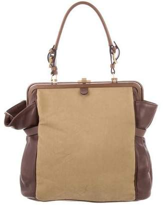 Marni Canvas Leather-Trimmed Tote Bag