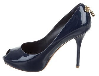 Louis Vuitton Patent Leather Peep-Toe Pumps