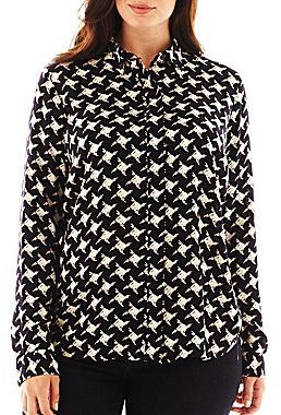 Liz Claiborne Long-Sleeve Button-Front Shirt - Plus