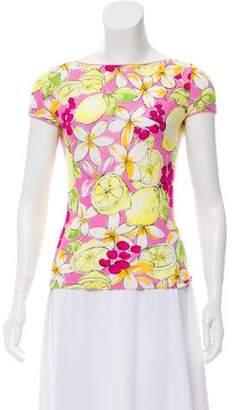 Blumarine Printed Short Sleeve Top