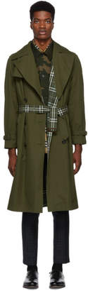 Burberry Reversible Green Check Pembridge Trench Coat