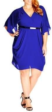 City Chic Plus Surplice Knee-Length Dress