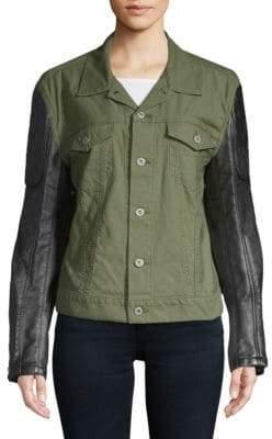 Junya Watanabe Faux Leather-Sleeve Jacket