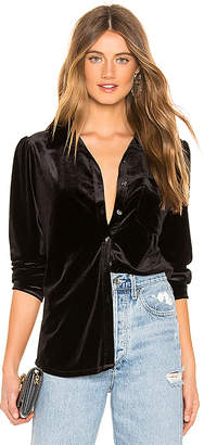 1 STATE Long Sleeve Velvet Button Down Top