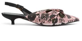 Erdem Edwina Floral Jacquard Slingback Pumps - Womens - Black Pink