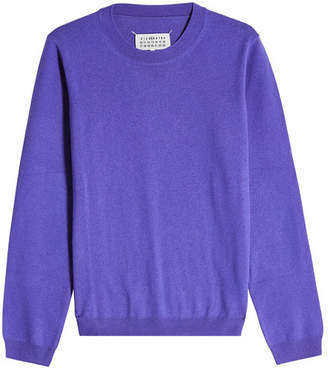 Maison Margiela Virgin Wool Pullover with Suede Elbow Patches