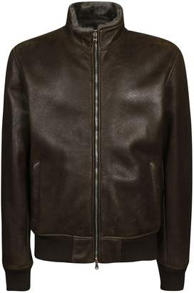 Barba Napoli High Neck Leather Jacket