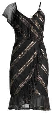 Aidan Mattox Asymmetric Sequin Stripe Sheath