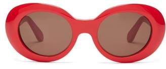 Acne Studios Mustang Oval Acetate Sunglasses - Womens - Red Black