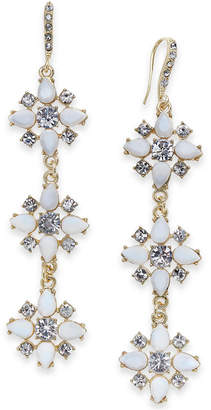 INC International Concepts I.n.c Gold-Tone Stone & Crystal Triple Cluster Linear Drop Earrings, Created for Macy's