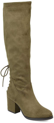 Journee Collection Womens Leeda Extra Wide Calf Riding Boots Block Heel Zip