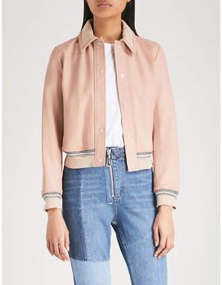 Sandro Ribbed-trim leather jacket
