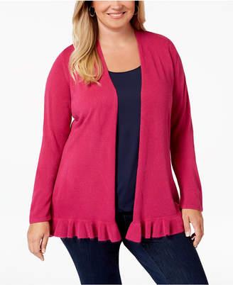 Karen Scott Plus Size Ruffled-Hem Cardigan Sweater