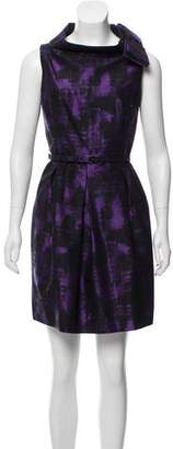 Michael Kors Wool and Silk Sleeveless Printed Knee-Length Dress