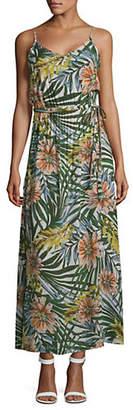 Lord & Taylor DESIGN LAB Tie Waist Palm Print Maxi Dress
