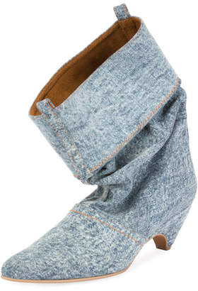 Stella McCartney Runway Denim Scrunched Boot, Blue