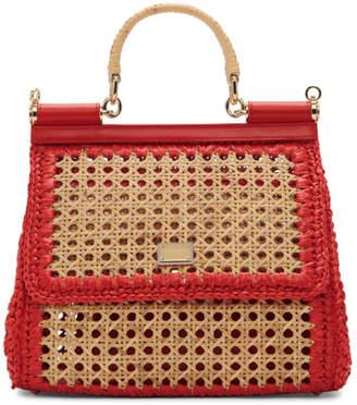 222ddedfb5d3 Dolce   Gabbana Beige and Red Medium Miss Sicily Bag