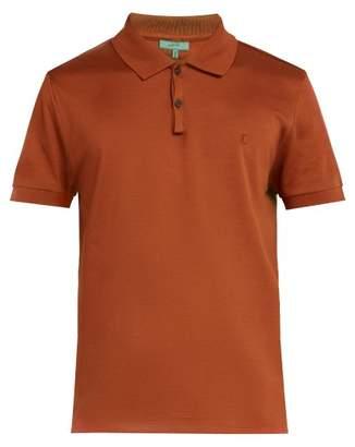 Lanvin Logo Embroidered Cotton Pique Polo Shirt - Mens - Brown