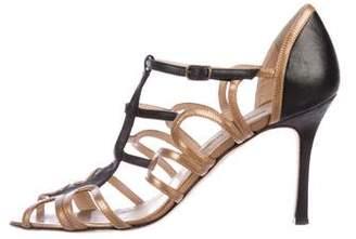 Manolo Blahnik Metallic Multistrap Sandals