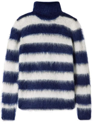 Michael Kors Striped Mohair-blend Turtleneck Sweater - Navy