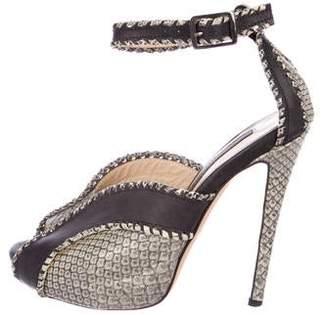 Chrissie Morris Embossed Ankle-Strap Sandals