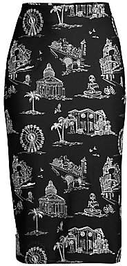 Maje Women's Embroidered Midi Skirt