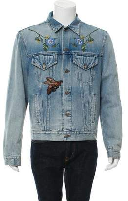 Gucci 2016 Floral Appliqué Denim Jacket