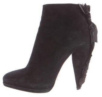 prada Prada Suede Ruffle-Trimmed Ankle Boots