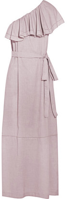 Lisa Marie Fernandez - Arden Ruffled One-shoulder Chambray Maxi Dress - Taupe $795 thestylecure.com