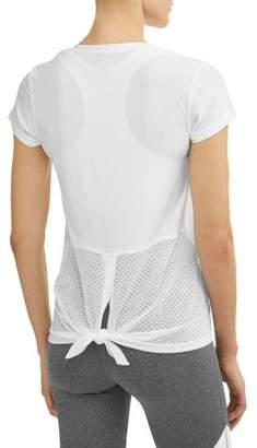 N.Y.L. Sport Women's Active V-Neck Short Sleeve Tie Back Performance T-Shirt