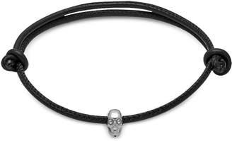 Swarovski Northskull Skull Friendship Bracelet W/white Black Leather & Silver