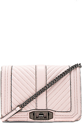 Rebecca Minkoff Chevron Quilted Small Love Crossbody Bag in Blush. $196 thestylecure.com