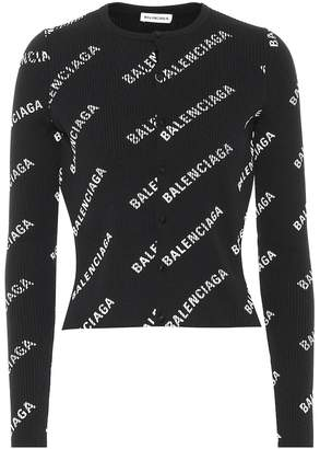 Balenciaga Logo ribbed cardigan