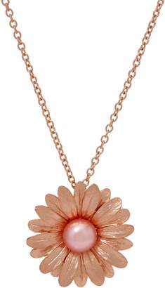 Honora Cultured Pearl Flower Pendant with Chain Sterling