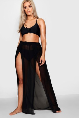 boohoo Plus Chiffon Split Beach Maxi Skirt