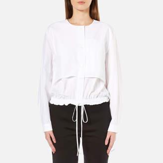 DKNY Women's Long Sleeve Cinch Waist Shirt Tail Pullover
