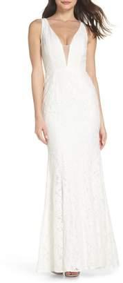 LuLu*s Plunging Neckline Lace Trumpet Gown