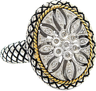Candela Andrea Tesoro 18K & Silver Diamond Oval Flower Antique Ring
