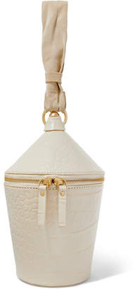 STAUD Minnow Croc-effect Leather And Suede Tote