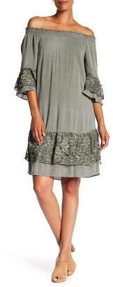 Robbie Bee Puckered 3/4 Sleeve Rayon Dress