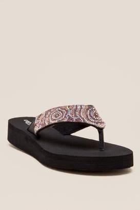 Denise Floral Rhinestone Flip Flop Sandal - Multi